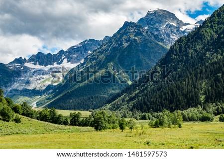 The Caucasus mountains in the Karachay-Cherkessia, Arkhyz. Beautiful mountain landscape. Mountain background.