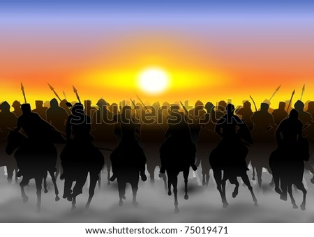 The cavalry rides in the fog, and dust on the background of the rising sun