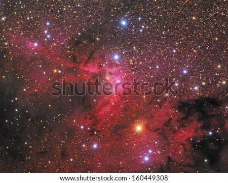 The Cave Nebula - This is a picture of SH2-155, also known as the Cave Nebula. It is a combination emission, reflection, and dark nebula about 2,400 light years away in the constellation Cepheus.