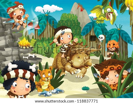 The cavemen - stone age - happy illustration for the children