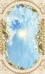The ceiling with arch with flowers