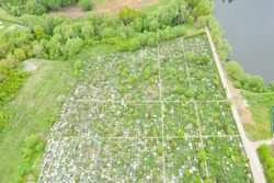 The cemetery, a photo from above. Summer photo of a cemetery near Moscow from a quadrocopter.