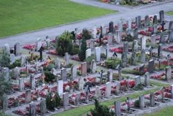 The cemetery at the village of Lauterbrunnen, Switzerland