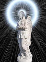 The cemetery monument in the form of an angel of white on a background of mystical light, white color.
