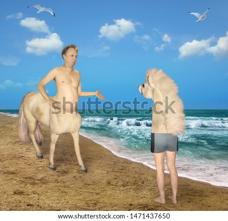 The centaur meets the strange horse on the beach of the sea. He was very confused.