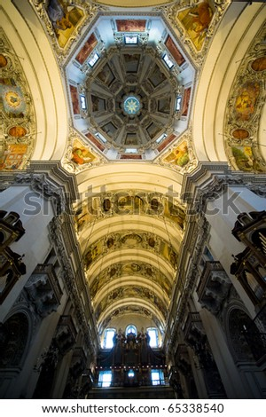 The center dome of St. Rupert in Salzburg Austria is stunningly beautiful.