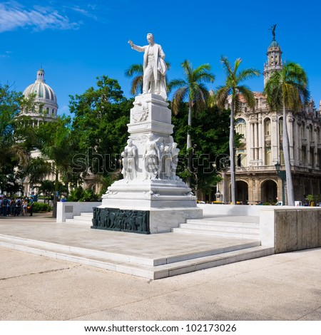 The Central Park of Havana with the Jose Marti Monument and the Capitol on the background