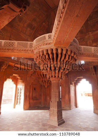 The central pillar of Diwan-i-khas in the Fatehpur Sikri, Agra district, India