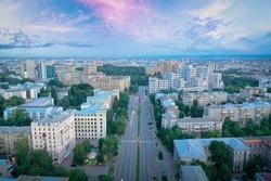 The central street of Kharkiv, aerial drone shot at sunset. Architecture of Kharkiv, Science Avenue, Derzhprom, Medical University and Karazin University