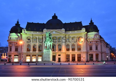 The Central University Library is located in central Bucharest with statue of Carol I, first king of Romania in front