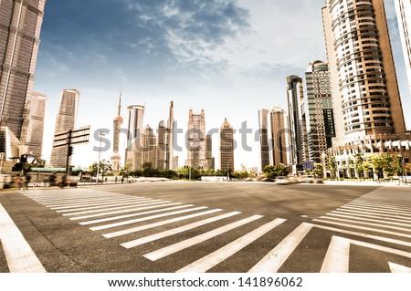 The century avenue of street scene in shanghai Lujiazui,China. - stock photo