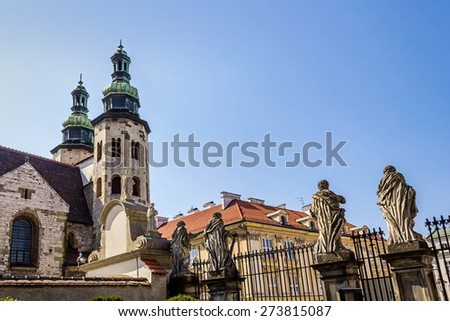 The 17-century Baroque church of St. Peter and St. Paul's at Grodzka street and St Andrews church towers, Krakow #273815087