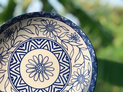 The ceramic dish with deep blue flower line pattern