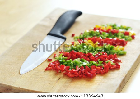 The ceramic knife and chopped chillies