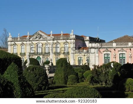 The ceremonial facade of the corps de logis and the ballroom wing of the Queluz palace in Portugal