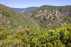 The Châteaux de Lastours (in Occitan Lastors), four so-called Cathar castles  on a rocky spur above the French village of Lastours,