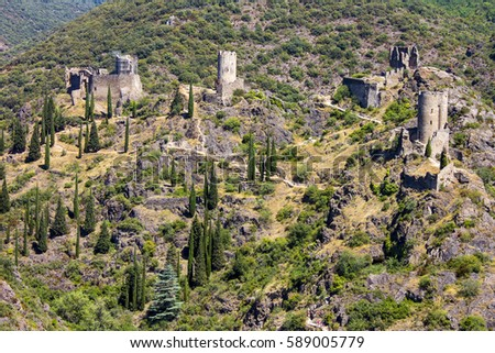 The Châteaux de Lastours (in Occitan Lastors), four so-called Cathar castles  on a rocky spur above the French village of Lastours,