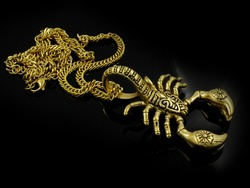 The chain and pendant Scorpion - Necklace gold color - Stainless steel - One color background