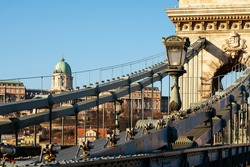 The Chain bridge before the renovation works begin. The oldest bridge in Hungary which famous tourist attraction Rusted, poor condition but renewing in 2021