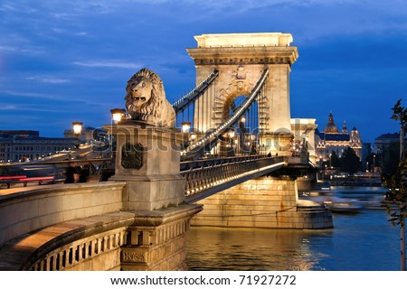 The Chain Bridge in Budapest in the evening. Sightseeing in Hungary.