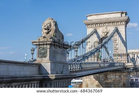The Chain Bridge (Szechenyi Lanchid) at Budapest. Budapest, Hungary.