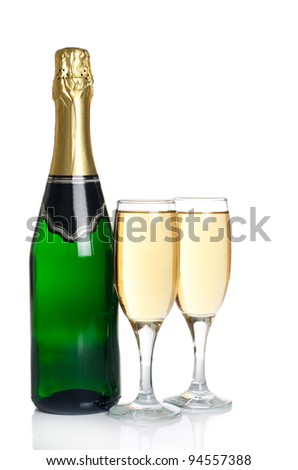 The champagne  isolated on a white background