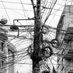 The chaos of cables and wires in Kathmandu - Nepal (black and white)