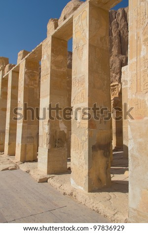 The chapel of the goddess Hathor in the Temple of Queen Hatshepsut (near the Valley of the Kings in Luxor, Egypt)