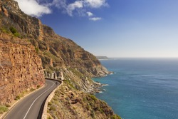 The Chapman's Peak Drive on the Cape Peninsula near Cape Town in South Africa on a bright and sunny afternoon.