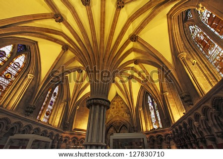 The Chapter House in Lichfield Cathedral is a magnificent example of thirteenth century church architecture. #127830710