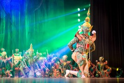 The character of giant from Khon-Thai culture named Tosakan from Ramayana or Ramakien. The traditional dance of arts perform on the stage in Thailand.