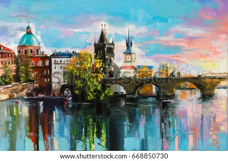 The Charles Bridge over Vltava river in Prague in a warm sunset lights. Original oil painting on canvas.