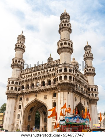 The Charminar, constructed in 1591, is a monument and mosque located in Hyderabad, Telangana, India
