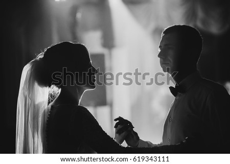 The charming brides dancing on the dancefloor #619343111