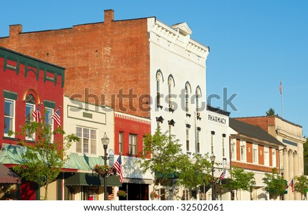 The charming old-fashioned Main Street of Chagrin Falls Ohio in early evening light