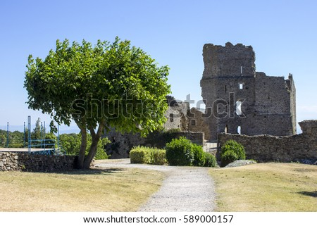The Chateau de Saissac, a ruined castle and one of the so-called Cathar castles, north-west of Carcassonne, France.