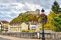 The Chateau Fort de Lourdes, a castle in Hautes-Pyrenees - Occitanie, France