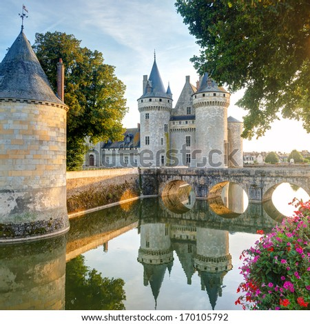 The chateau of Sully-sur-Loire France This castle is located in the Loire Valley dates from the 14th century and is a prime example of medieval fortress