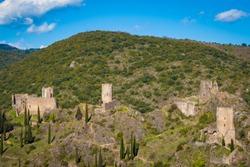 The Chateaux de Lastours, in Occitan Lastors, four so-called Cathar castles on a rocky spur above the French village of Lastours