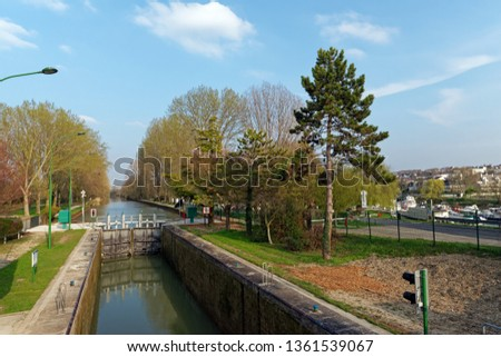The Chelles canal lock in  Île de France country Photo stock ©
