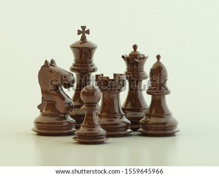 The Chess Pieces: The Black Pieces - 3D Illustration