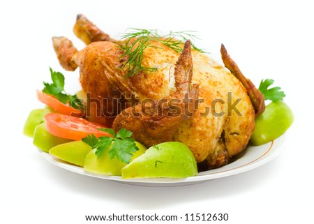 The chicken fried on a spit on a white background