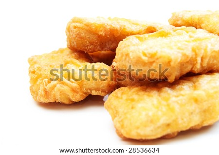 the chicken nuggets on white background
