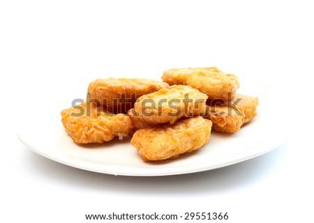chicken nuggets. chicken nuggets on white