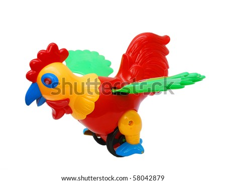 the chicken toy isolated white
