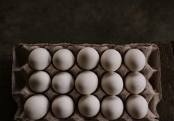 The Chickens eggs on the egg carton on the dark background