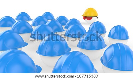 The chief in a helmet faces to workers, meeting before work. The concept teamwork - stock photo
