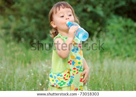 The child drinking water