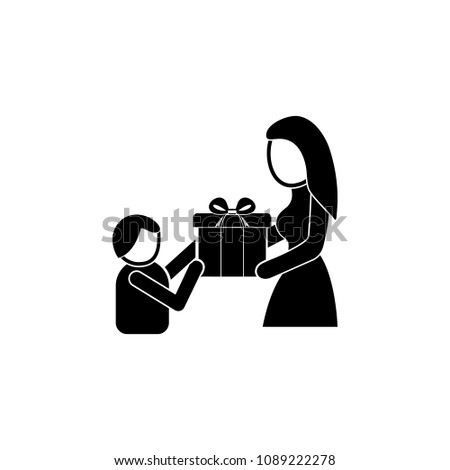 the child gives a gift to mom icon. Element of mother day for mobile concept and web apps. Detailed the child gives a gift to mom icon can be used for web and mobile. Premium icon on white background