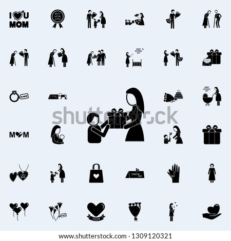 the child gives a gift to mom icon. Mother's Day icons universal set for web and mobile on white background
